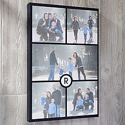 Personalized 5 Photo and Initial Collage Canvas