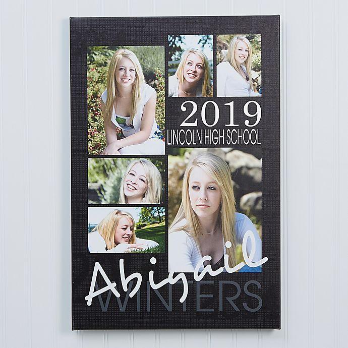 Alternate image 1 for Personalized Graduation Portrait Collage 16-Inch x 24-Inch Canvas