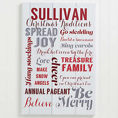 Personalized Holiday Family Traditions Canvas