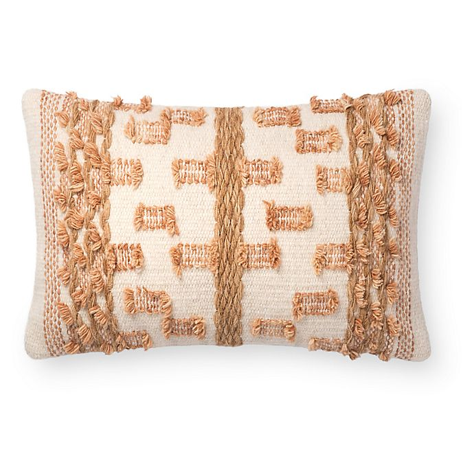 Alternate image 1 for Magnolia Home by Joanna Gaines Margaret Oblong Throw Pillow in Beige/Rust