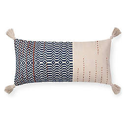 Magnolia Home by Joanna Gaines Amie 27-Inch x 12-Inch Oblong Throw Pillow in Ivory/Indigo