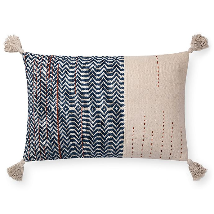 Alternate image 1 for Magnolia Home by Joanna Gaines Amie 26-Inch x 16-Inch Oblong Throw Pillow in Ivory/Indigo