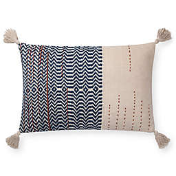 Magnolia Home by Joanna Gaines Amie 26-Inch x 16-Inch Oblong Throw Pillow in Ivory/Indigo