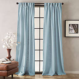 Blue Curtain Panels Hanging Style Pinch Pleat Bed