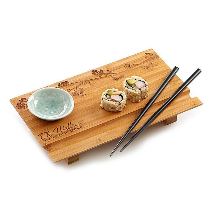 Alternate image 1 for Cherry Blossom Personalized Sushi Board- 3pc Set