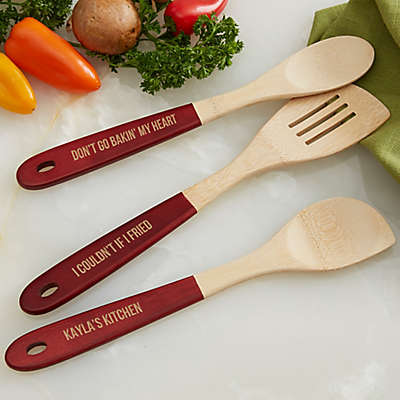 Personalized Kitchen Expressions Red-Handled Bamboo Utensils