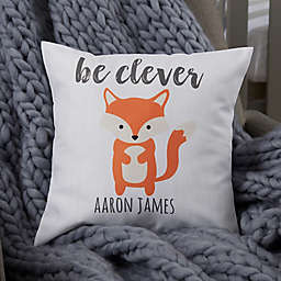 Woodland Adventure Fox Personalized Baby Throw Pillow