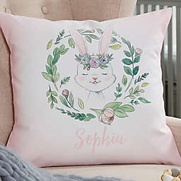Woodland Floral Bunny Personalized Throw Pillow