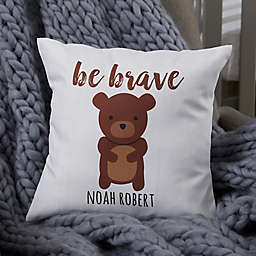 Personalized Woodland Adventure Bear Baby Throw Pillow