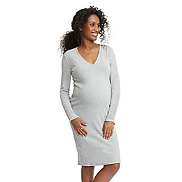 Stowaway Collection Maternity Sweater Dress with Lace in Grey