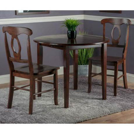 Winsome Trading 3 Piece Clayton Round Drop Leaf Dining