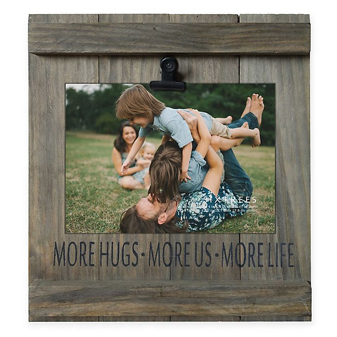 Alternate image 1 for 5-Inch x 7-Inch More Hugs Distressed Pallet Wood Clip Frame
