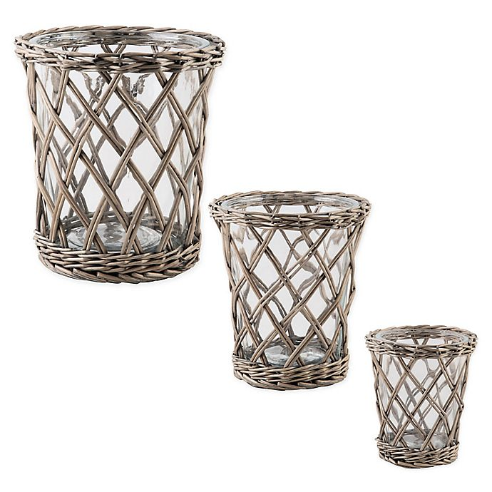 Alternate image 1 for Bee & Willow™ Home Small Willow-Wrapped Glass Hurricane Candle Holder