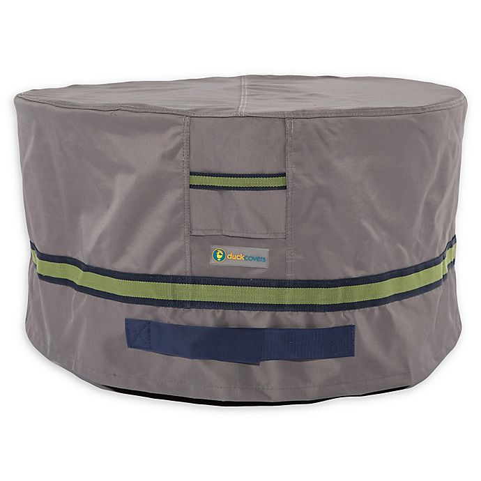 Alternate image 1 for Soteria Polyester Water-Resistant 32-Inch Round Ottoman/Side Table Cover in Grey
