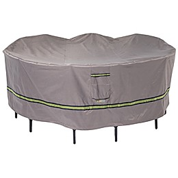 Soteria Polyester Water-Resistant Round Table with Chairs Cover in Grey