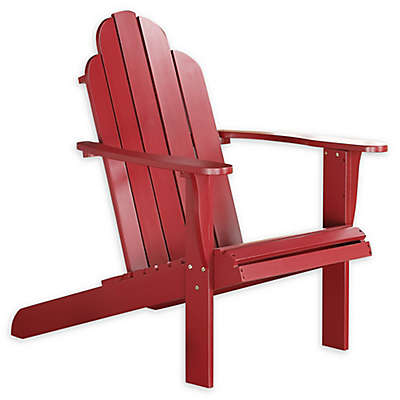 Linon Home Blaise Wood Adirondack Chair in Red