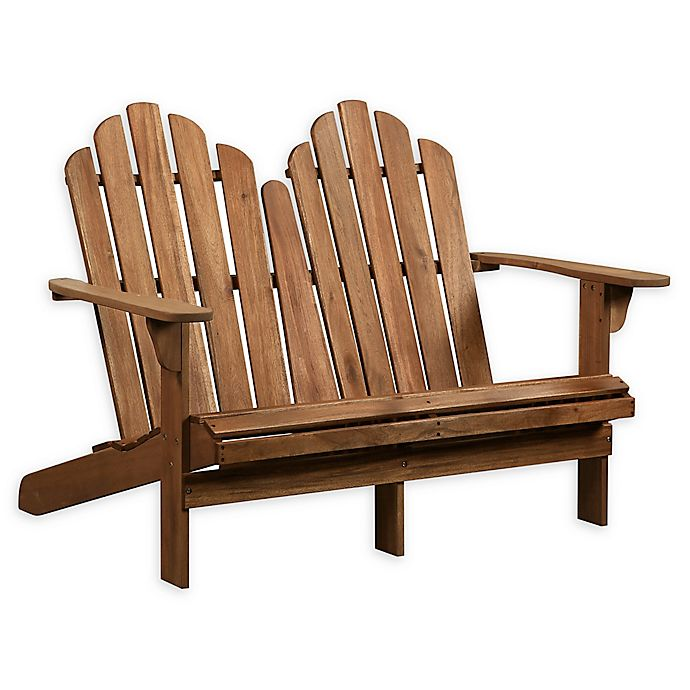 Alternate image 1 for Linon Home Blaise Wood Adirondack Double Bench in Teak