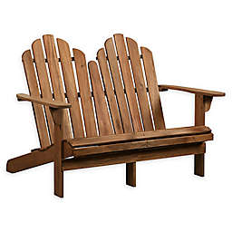 Linon Home Blaise Wood Adirondack Double Bench in Teak