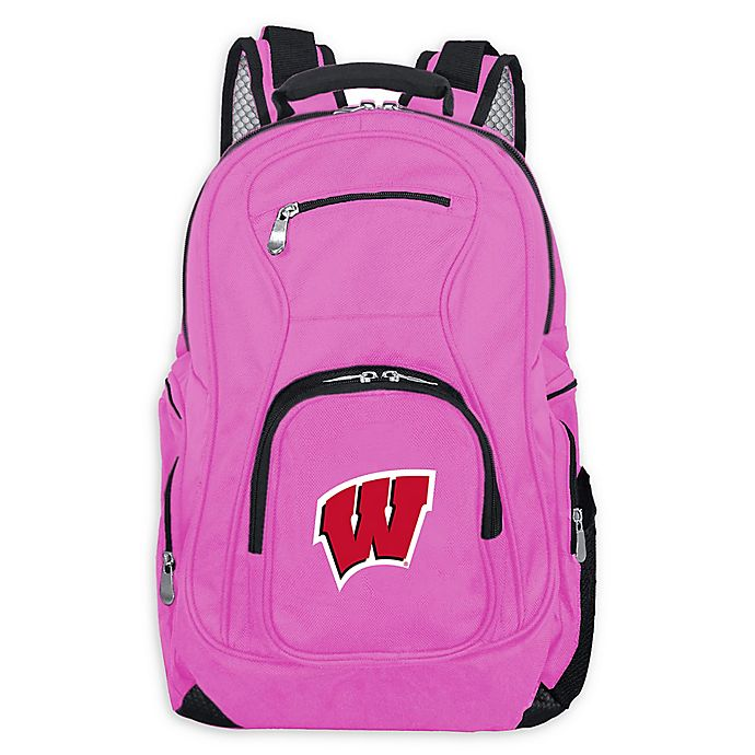 Alternate image 1 for University of Wisconsin Laptop Backpack in Pink