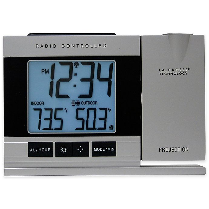 Alternate image 1 for La Crosse Technology Projection Alarm Clock with Indoor/Outdoor Temperature in Silver