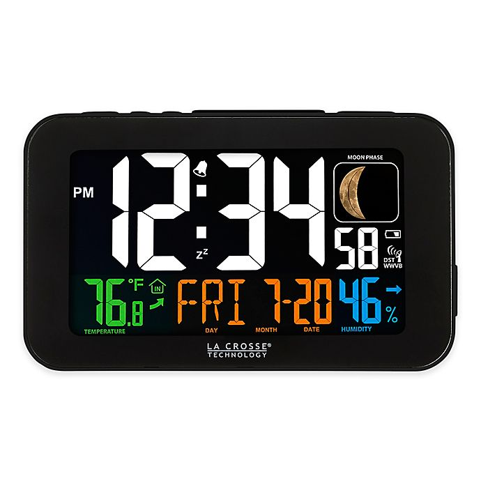 Alternate image 1 for La Crosse Technology Atomic Color LCD Alarm Clock in Black