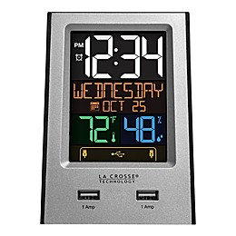 La Crosse Technology Color LCD Alarm Clock with Dual USB Ports in Silver