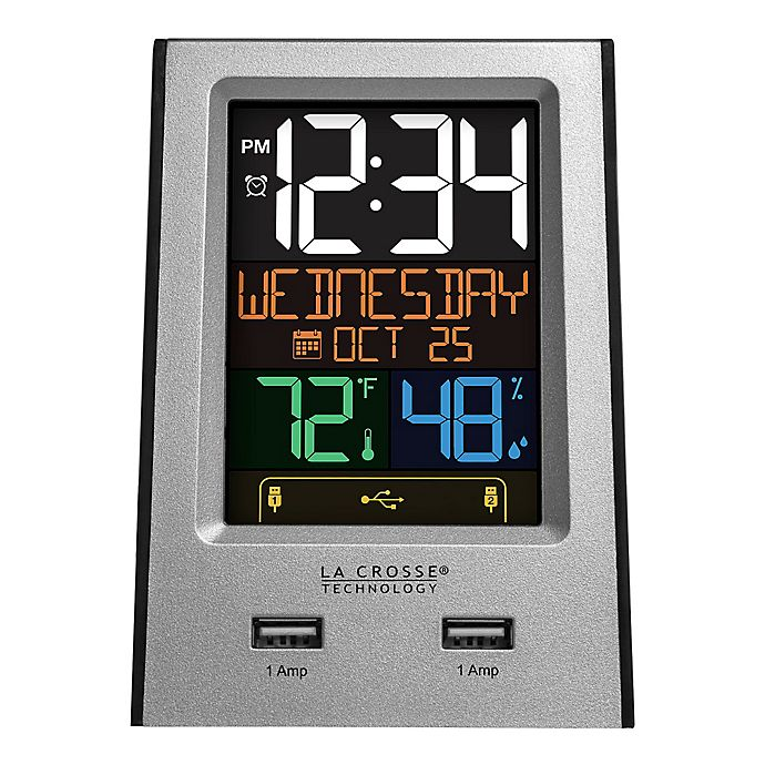 Alternate image 1 for La Crosse Technology Color LCD Alarm Clock with Dual USB Ports in Silver