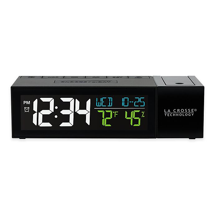 Alternate image 1 for La Crosse Technology Pop-Up Projection Alarm Clock in Black