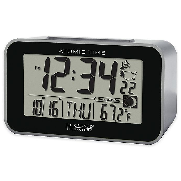 Alternate image 1 for La Crosse Technology Atomic Alarm Clock with Indoor Temperature