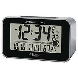 La Crosse Technology Atomic Alarm Clock with Indoor Temperature in Black