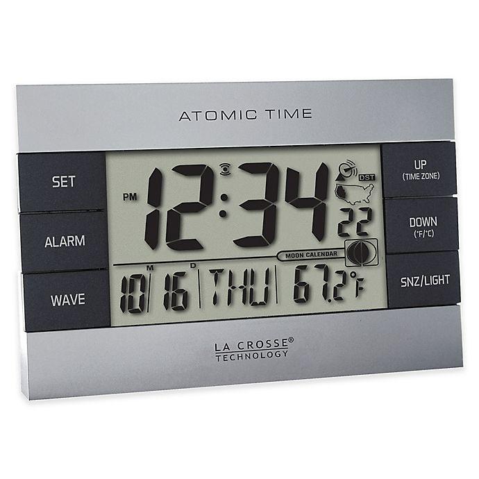 Alternate image 1 for La Crosse Technology Atomic Alarm Clock with Indoor Temperature in Grey