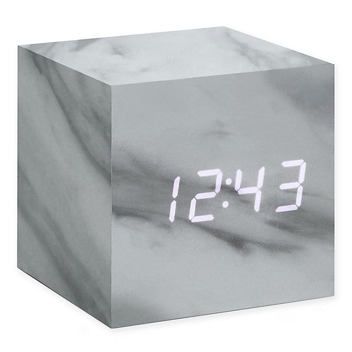 Alternate image 1 for Gingko® Cube Click Alarm Clock in Marble