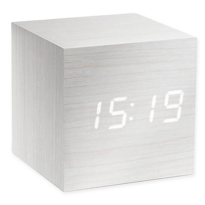 Alternate image 1 for Gingko® Cube Click Alarm Clock in White