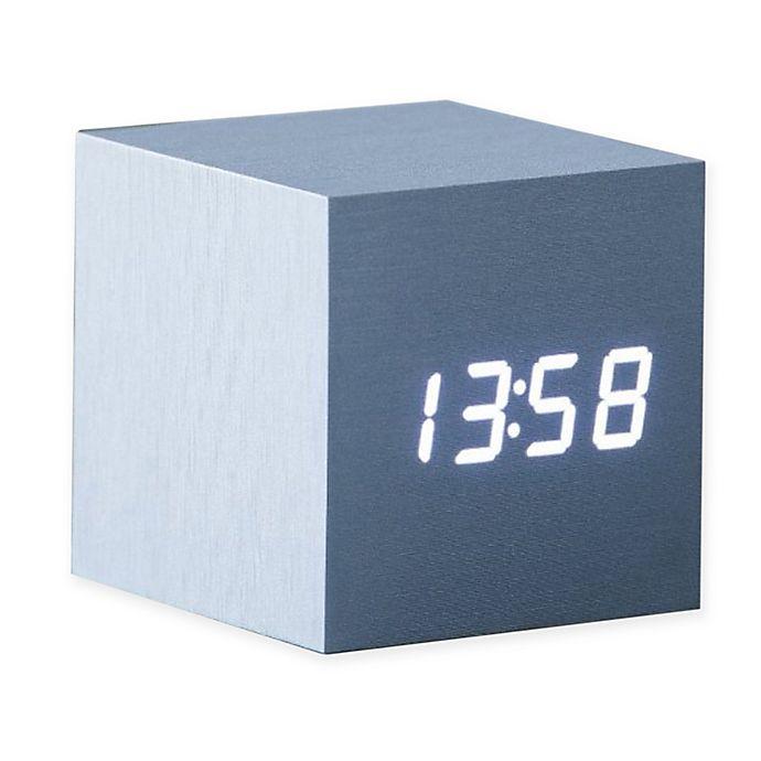 Alternate image 1 for Gingko® Cube Click Alarm Clock in Metallic Silver/White