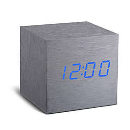 Gingko® Cube Click Alarm Clock in Grey/Blue