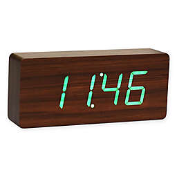 Gingko Slab Click Rechargeable Clock in Walnut/Green