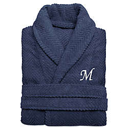 Linum Home Textiles Small/Medium Herringbone Turkish Cotton Unisex Bathrobe in Midnight Blue