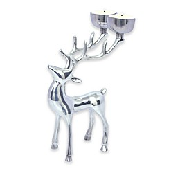 8.5-Inch Reindeer Tealight Candle Holder in Silver