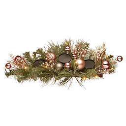 National Tree Company  26-Inch 3-Light LED Artificial Pine Centerpiece in Pink