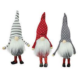 santa gnome christmas ornaments in redgrey set of 3 - Christmas Gnome
