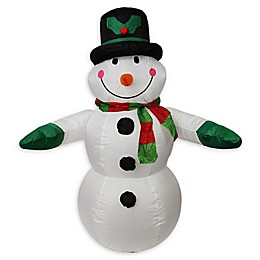 LB International Inflatable 4-Foot Pre-Lit Snowman Outdoor Christmas Decoration