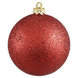10-Inch Holographic Glitter Ball Ornament in Red