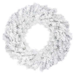24-Inch Canadian Pine Christmas Wreath in White