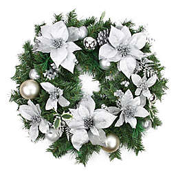 24-Inch Poinsettia, Pinecone, and Ball Wreath in Silver