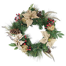 24-Inch Burlap Poinsettia, Mossball, Pine, and Berry Wreath