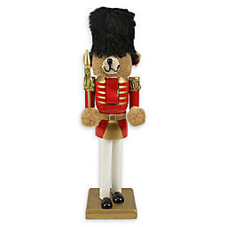 14.25-Inch Teddy Bear Soldier Nutcracker in Red/Gold