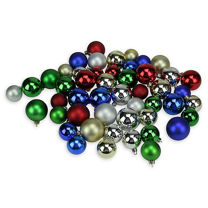 Alternate image 1 for Northlight Multicolor Christmas Ball Ornaments (Set of 50)