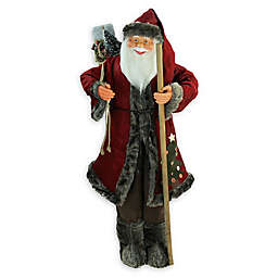 48-Inch Jolly Santa Claus Figurine in Red