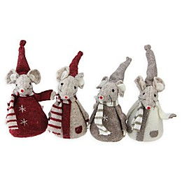 5.5-Inch Mice Table Figurines in Grey (Set of 4)