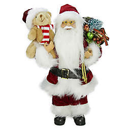 12-Inch Santa Claus Figurine with Teddy Bear and Gifts